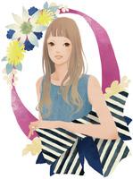 リボンと花と女性 02675000007| 写真素材・ストックフォト・画像・イラスト素材|アマナイメージズ