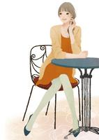 椅子に座りテーブルに肘をついた女性 02675000008| 写真素材・ストックフォト・画像・イラスト素材|アマナイメージズ