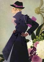 花の背景と帽子とコートの女性 02675000009| 写真素材・ストックフォト・画像・イラスト素材|アマナイメージズ