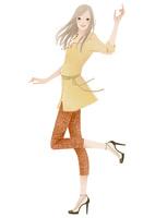 片手を上げステップを踏む女性 02675000012| 写真素材・ストックフォト・画像・イラスト素材|アマナイメージズ