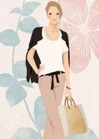 花と葉の背景と女性 02675000014| 写真素材・ストックフォト・画像・イラスト素材|アマナイメージズ