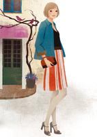 建物の前に立つ女性 02675000015| 写真素材・ストックフォト・画像・イラスト素材|アマナイメージズ