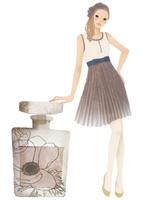 香水瓶と女性 02675000016| 写真素材・ストックフォト・画像・イラスト素材|アマナイメージズ