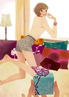 ベッドの上で振り向く女性 02675000017| 写真素材・ストックフォト・画像・イラスト素材|アマナイメージズ