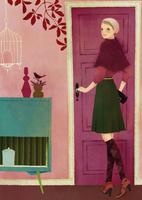 部屋のドアの前に立つ女性 02675000020| 写真素材・ストックフォト・画像・イラスト素材|アマナイメージズ