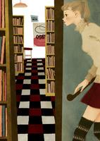 本屋に入る女性 02675000023| 写真素材・ストックフォト・画像・イラスト素材|アマナイメージズ