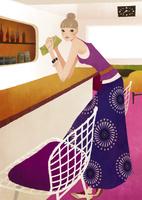 カウンターに肘をついて立つ女性 02675000025| 写真素材・ストックフォト・画像・イラスト素材|アマナイメージズ