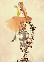 鳥かごの上に座る女性 02675000026| 写真素材・ストックフォト・画像・イラスト素材|アマナイメージズ