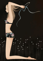 髪のリボンを解くランジェリー姿の女性 02675000027| 写真素材・ストックフォト・画像・イラスト素材|アマナイメージズ