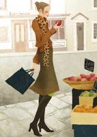 店先でリンゴを選ぶ女性 02675000031| 写真素材・ストックフォト・画像・イラスト素材|アマナイメージズ