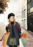 ショップ袋を両手に持ち街を歩く女性 02675000032| 写真素材・ストックフォト・画像・イラスト素材|アマナイメージズ