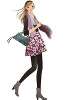 ストールを巻いた歩く女性 02675000033| 写真素材・ストックフォト・画像・イラスト素材|アマナイメージズ