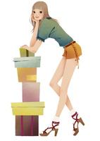 積み上げられた箱と女性 02675000036| 写真素材・ストックフォト・画像・イラスト素材|アマナイメージズ