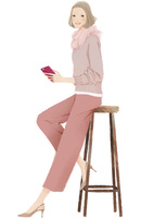 スマホを持ったハイスツールに座る女性