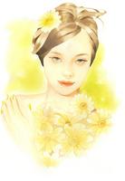 黄色いマーガレットの女性