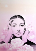 ピンクに白い花の女性
