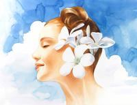 横向きの女性と青い空