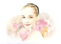 肩にあふれるバラの女性