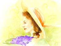 黄色い帽子の横向き女性