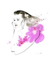 墨タッチ女性ピンクの花