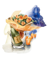 シャンパンと花束