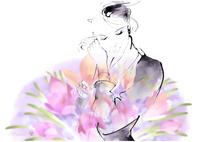 線描きの女性と紫の花