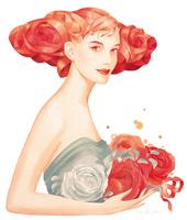 バラを抱く女性(バラの髪)