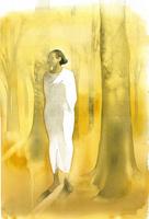 秋の森に立つ白いドレスの女性