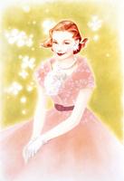 白い花とピンクドレスの女性