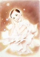 白い花のドレスの子供