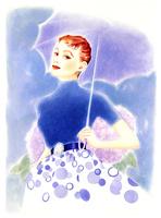 ブルーのドレスとパラソルの女性