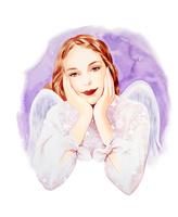 天使の羽の女の子 パープル