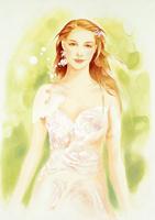 花のドレスとロングヘアの女性 グリーン