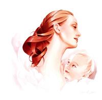 赤ちゃんと母親 ピンクイメージ