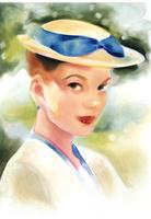 ブルーリボンの帽子の女性 パステル調