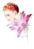 ピンクの花と女性の顔