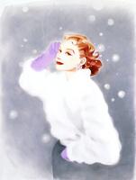 雪と白いファーの女性