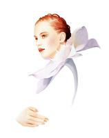 花のストールの女性