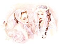 二人の花嫁とバラ