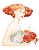バラを抱く女性 バラの髪