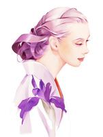 紫の花 和服の女性