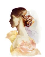 花のドレス髪飾りの女性 横向き