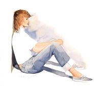 白いシャツとジーンズの女性