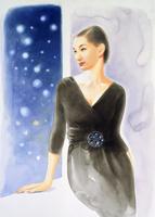 雪と黒いドレスの女性