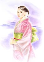 ピンクの和装の女性 グリーンの帯
