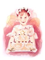 ケーキを持つ子供 天使の羽