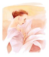 胸から花の横向きの女性