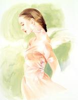 天使の羽の女性 グリーン