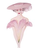 ピンクの花ドレスと帽子の女性 正面