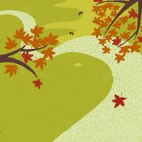 川を流れる落ち葉